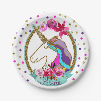 Gold Glitter Polka Dots Unicorn Birthday Party Paper Plate