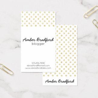 Gold Glitter Polkadots Business Cards