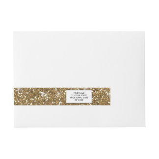 Gold Glitter Printed Wraparound Address Label