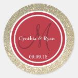 Gold Glitter & Red Wedding Monogram Round Sticker