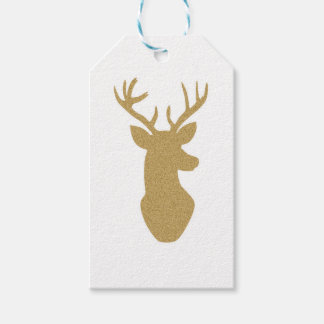 Gold glitter reindeer gift tags pack of gift tags