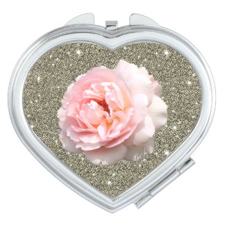 Gold Glitter Rose Heart Duo Mirror Compact Mirrors For Makeup