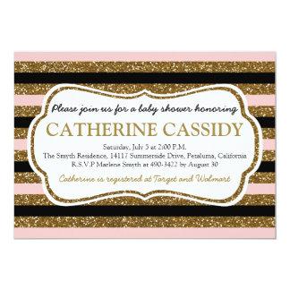 Gold Glitter, Rose Quartz Baby Shower Invitation