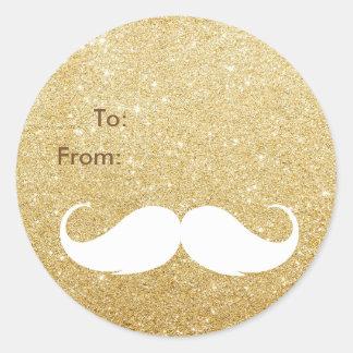 Gold Glitter Santa Mustache Holiday Gift Tag