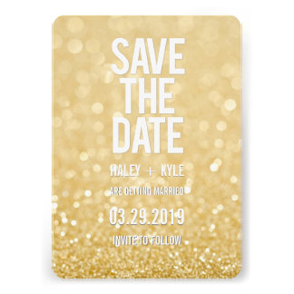 Gold Glitter Save the Date Typography Card