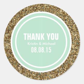 Gold Glitter Seafoam Green Custom Thank You Label Round Sticker