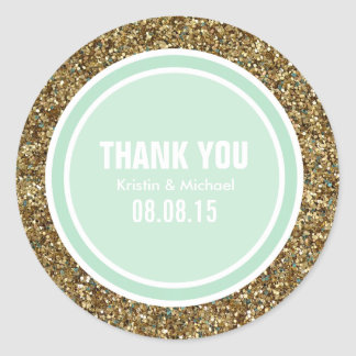 Gold Glitter & Seafoam Green Thank You Label Round Sticker