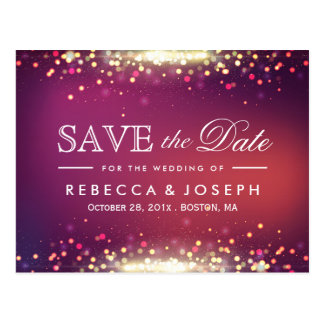Gold Glitter Shiny Sparkle Lights Save the Date Postcard