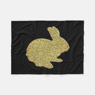 Gold Glitter Silhouette Bunny Fleece Blanket