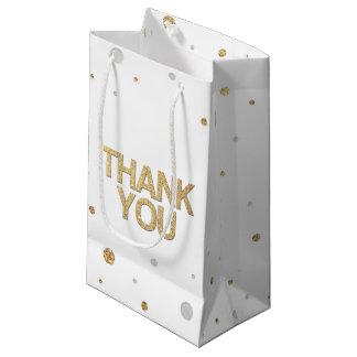 Gold Glitter Silver Foil Print Confetti Thank You Small Gift Bag