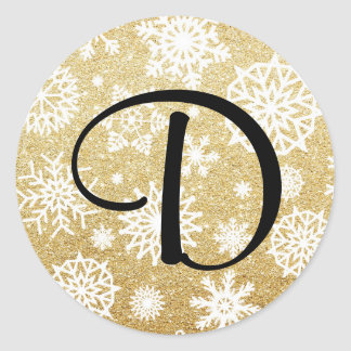 Gold Glitter Snowflake Monogram Holiday Sticker