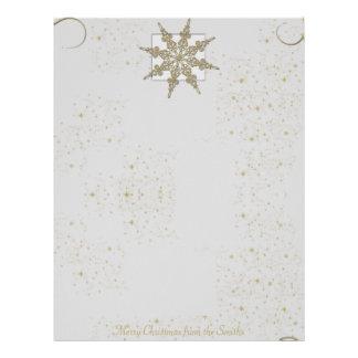 Gold Glitter Snowflake on Winter White Background Letterhead