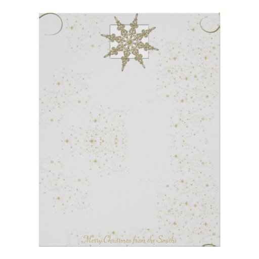 Gold Glitter Snowflake on Winter White Background Custom Letterhead