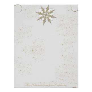 Gold Glitter Snowflake on Winter White Background Letterhead