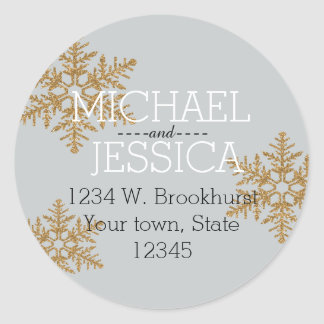 Gold Glitter Snowflake Personalized address Classic Round Sticker