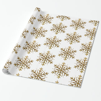 Gold Glitter Snowflakes Christmas Gift Wrap