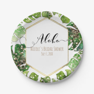Gold Glitter Sparkle Glam Tropical Leaves Wedding Paper Plate