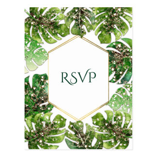 Gold Glitter Sparkle Tropical Leaves Wedding RSVP Postcard