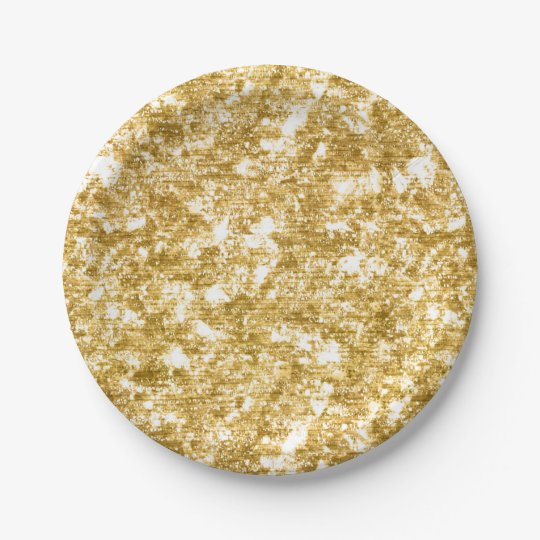 Gold Glitter Sparkle Wedding Reception Party 7 Inch Paper Plate