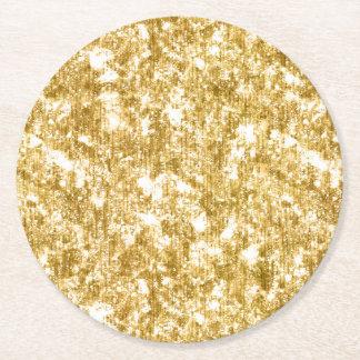Gold Glitter Sparkle Wedding Reception Party Round Paper Coaster