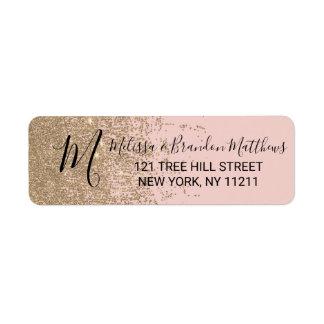 Gold Glitter Sparkles Blush Pink Address