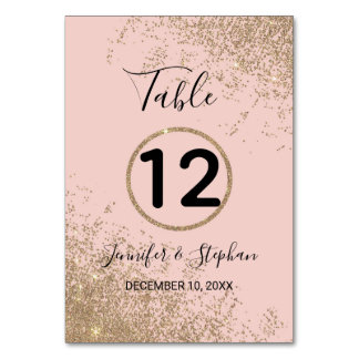 Gold Glitter Sparkles Blush Pink Table Numbers