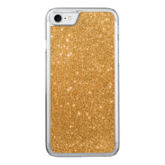 Gold Glitter Sparkles Carved iPhone 7 Case