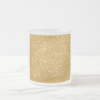 Gold Glitter Sparkles Frosted Glass Coffee Mug