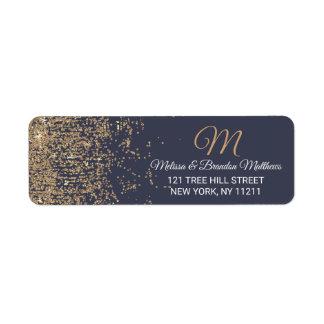 Gold Glitter Sparkles Navy Blue Address