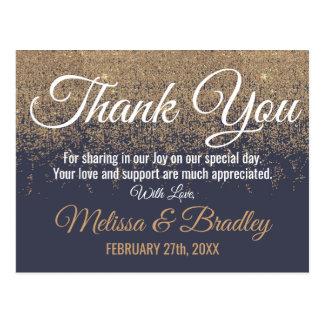 Gold Glitter Sparkles Navy Blue Thank You Postcard
