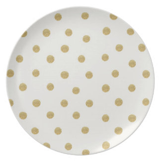 Gold Glitter Spots Melamine Plate
