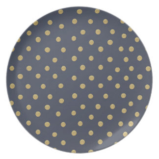Gold Glitter Spots Navy Blue Melamine Plate