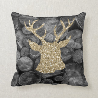 Gold Glitter Stag Head Wood Logs Pillow