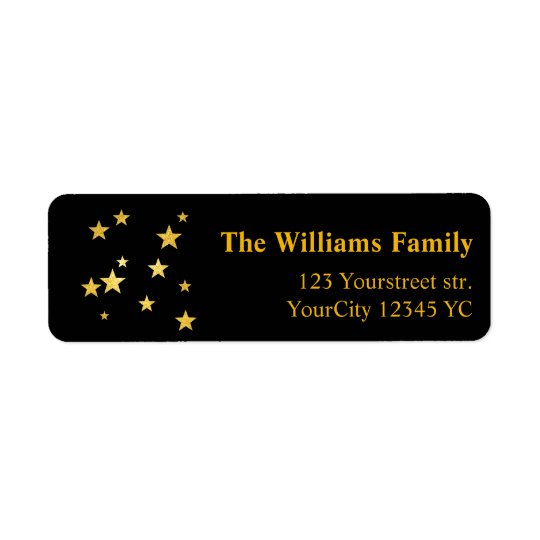 Gold glitter stars Christmas return address labels