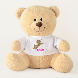 Gold Glitter Stars Unicorn Cute Personalized Teddy Bear