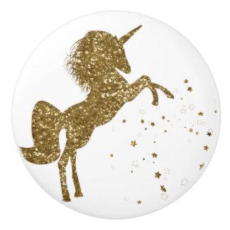 Gold Glitter Stars Unicorn Magical Sparkle Fantasy Ceramic Knob