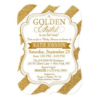 Gold Glitter Stripe Baby Shower Invitation Card
