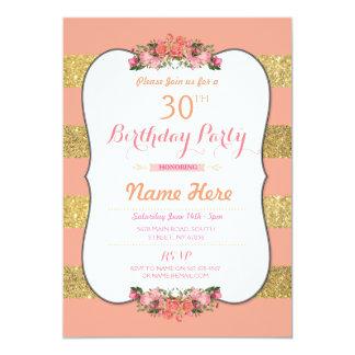 Gold Glitter Stripe Floral Birthday Party Invite