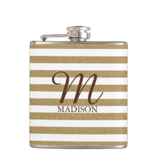 Gold Glitter Striped Flask With Monogram