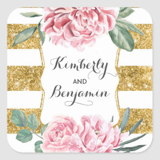Gold Glitter Stripes and Pink Flowers Vintage Chic Square Sticker
