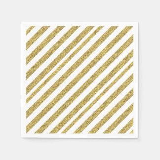 Gold Glitter Stripes Paper Napkin