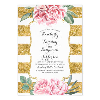 Gold Glitter Stripes Pink Floral Vintage Wedding Card