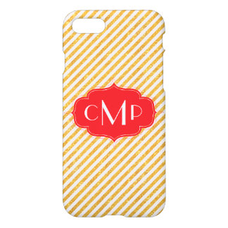 Gold Glitter Stripes with Red - iPhone 7 case