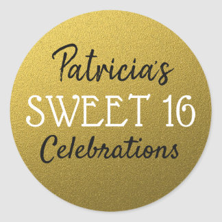 Gold Glitter Sweet 16 Birthday Classic Round Sticker