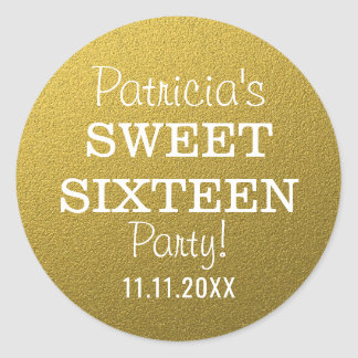 Gold Glitter Sweet 16 Party Favours Classic Round Sticker