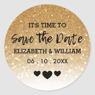 Gold Glitter + Sweethearts Arrow Wedding Thank You Classic Round Sticker