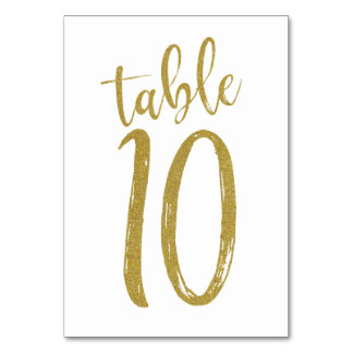 Gold Glitter Table Number10 Card