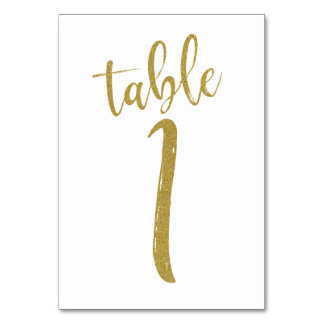 Gold Glitter Table Number 1