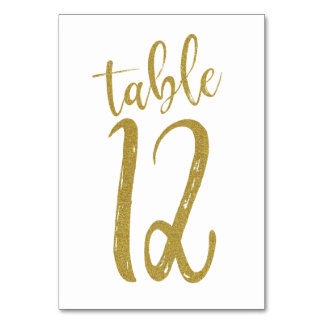Gold Glitter Table Number 12