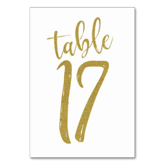 Gold Glitter Table Number 17